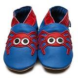 Zapatos Inch Blue de cuero blando azul y rojo con ara�a, 0-6 meses