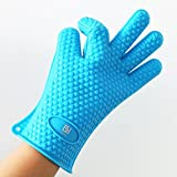 Silicone Oven Mitts Pot Holder for Cooking, Baking, Barbeque (BBQ) 5 Finger Protective Kitchen Gloves
