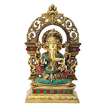 Gangesindia God Ganesh Maharaj Seated On Throne (40.01 CM, 22.23 CM, 16.51 CM) Multicolor