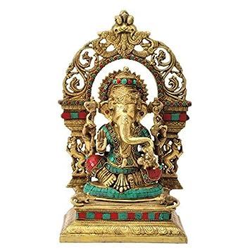 Gangesindia God Ganesh Maharaj Seated On Throne (40.01 CM, 22.23 CM, 16.51 CM) Multicolor