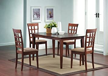 Dining Table Set 5 Pc Table Chair Chairs Walnut