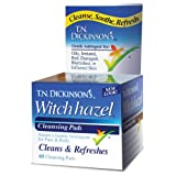 Dickinson Brands, T.N. Dickinson's Witch Hazel Cleansing Pads, 60 Pads, 2.13 in