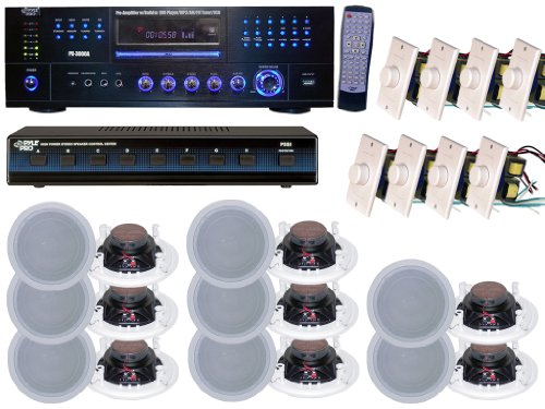 Pyle PD3000A 3000W AM-FM Receiver with Built-In DVD/MP3/USB, PSS8 8-Channel High Power Stereo Speaker Selector and PDIC81RD 8 inch Two-Way In-Ceiling Speaker System and PVC1 Wall Mount Rotary Volume Control knob (Home Built In Speakers compare prices)