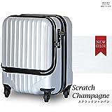 スーツケース 機内持込 軽量 小型 フロントオープン ダブルファスナー 4輪 ss 【W-Receipt】 キャリーケース キャリーバッグ 前ポケット (SS-33L, スクラッチ/シャンパン)