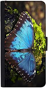 Snoogg Blue Butterfly Designer Protective Phone Flip Back Case Cover For Samsung Galaxy J7 (2016)