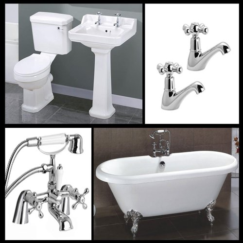 Full Bathroom Suite 1700mm Free Standing Bath with Toilet and Basin