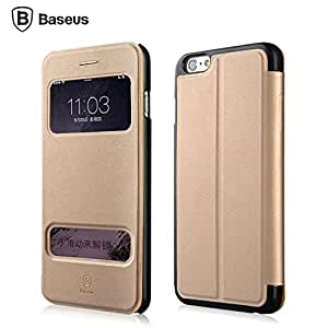 Baseus [ Business Style ] Dual View Window Function PU Leather Magnetic Flip Case With Stand Design Cover For Apple iphone 6 (4.7 inch) / iphone Air Gold