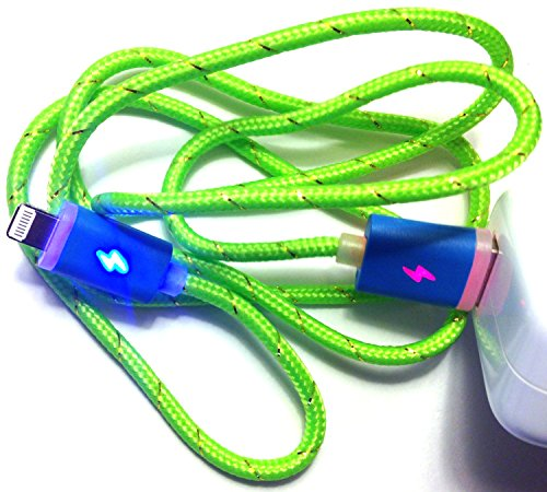Josi Minea® Premium 3Ft / 1M Led Fabric Braided Nylon Light Up 8 Pin Lightning Sync Data Charger Usb Cable With Blinking Colorful Rainbow Led Connectors For Apple Iphone 5 / 5S / 5C & Ipad With Retina Display / Air / Mini / Ipad 4 Ipod Touch (Lime Green)