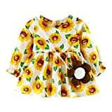 Digood Cute Toddler Baby Girl Full Sleeve Sunflower Backless Print Crew Neck Gallus Dress (12-24 Months, Gold)
