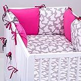 Set 10�piezas de ropa cama de beb�: protector de cuna de 6�cojines (tama�o grande), edred�n para Beb�, Funda de edred�n, almohada, funda de almohada, Gris con mariposas fucsias rosa Rose Gris Talla:lit b�b� de 120 x 60