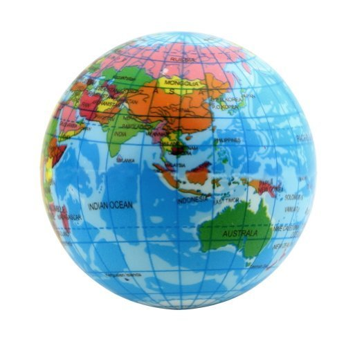 World Map Foam Earth Globe Stress Relief Bouncy Ball Atlas Geography Toy, 2.36 Inch - 1