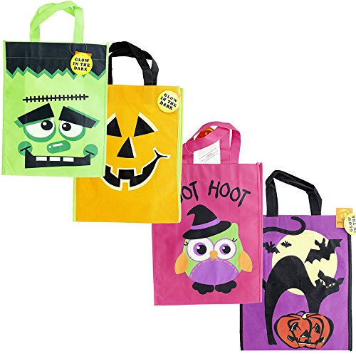 Halloween Trick or Treat Glow in the Dark Tote Bags with Handles Variety - 4 Pack (Frozen Trick Or Treat Bag)