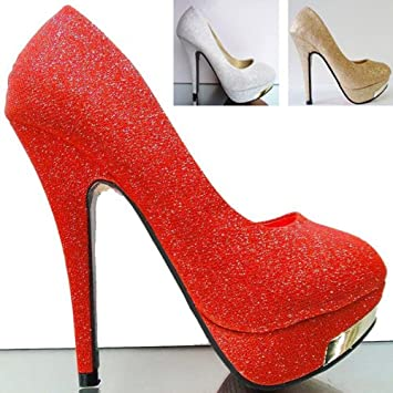 5b72e2015dad Women Party Prom Dress Pump High Heel Platform Stiletto Shoes Glitter Pumps  Red Golden Silver Color