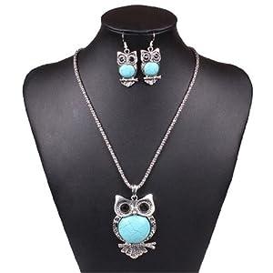Qiyun Turquoise Blue Owl Pendant Chain Necklace Dangle Earrings Cuff Bracelet Set Hibou Bleu Turquoise Bracelet Manchette Collier