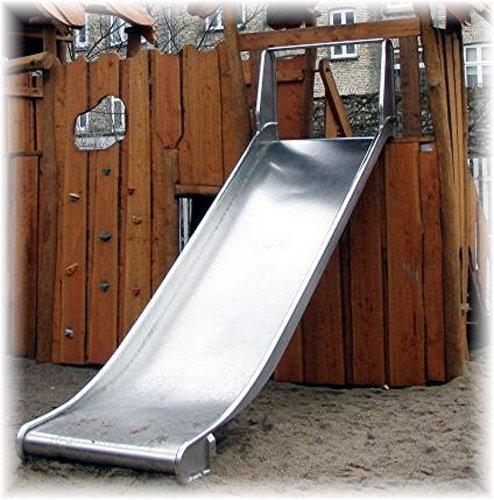 Edelstahl Anbaurutsche 100cm breit, Podesthöhe 1.25-1.50m - öffentlich
