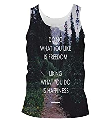 Snoogg Freedom And Happiness Mens Casual Beach Fitness Vests Tank Tops Sleeveless T shirts