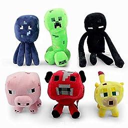 6pcs/set Minecraft Enderman Creeper Mooshroom Pig Cat Squid Game Overwold Soft Plush Toys Kit Stuffed Aminal Dolls