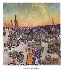 Vincent Van Gogh - La passeggiata al chiaro di luna Stampa Artistica (58,42 x 66,04 cm)