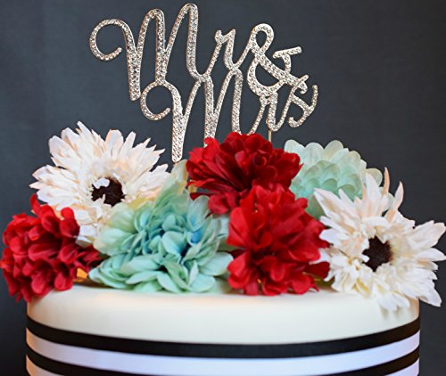 Mr & Mrs Wedding or Anniversary Cake Topper Premium Rhinestone Decoration (Silver)