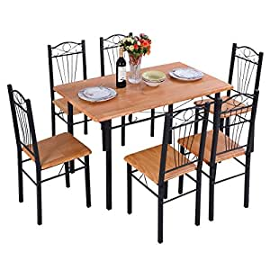 6PCS CHAIR Steel Frame Dining Set Table And Chairs Kitchen Mod