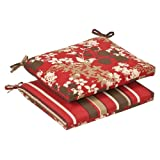 Pillow Perfect Indoor/Outdoor Red/Brown Floral/Striped Reversible Seat Cushion, Squared, 2-Pack