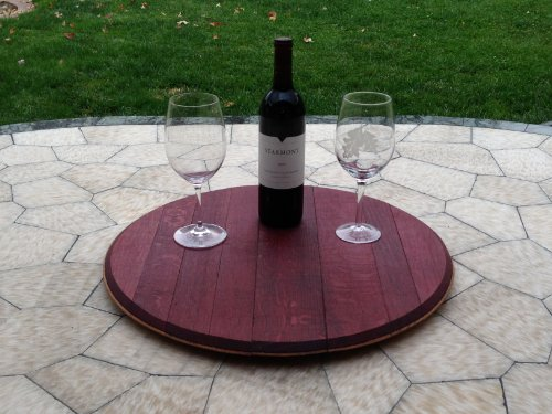 Wine Barrel Top Lazy Susan with Wine Side Exposed