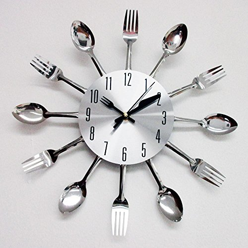 Modern Design Sliver Cutlery Kitchen Utensil Wall Clock Spoon Fork Knife Gift !!