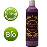 Sensual Massage Oil w/ Pure Lavender Oil - Relaxing Almond & Jojoba Oil - Women & Men – 100% Natural Hypoallergenic Skin Therapy 8 oz. - USA Made