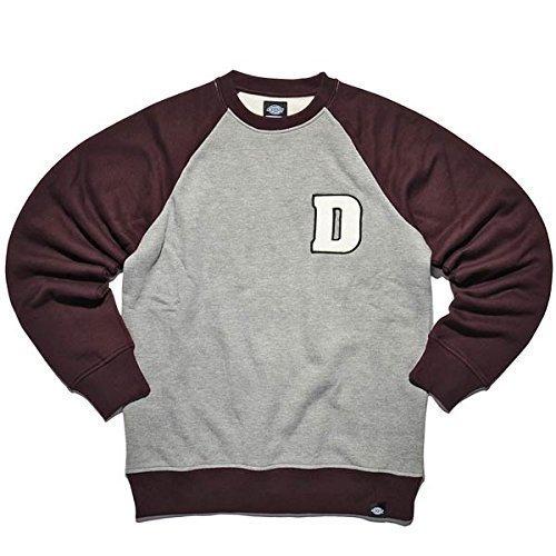 Dickies-Felpa a girocollo, colore: grigio mélange/: Rosso bordeaux