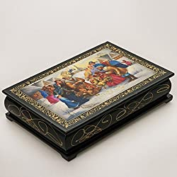 Beautiful Wooden Lacquer Box for Storage Cockfight Great Gift