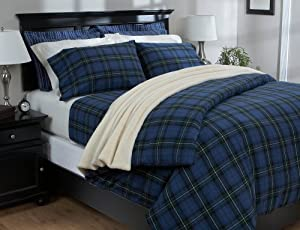 Pinzon Lightweight Cotton Flannel Duvet Cover - Full/Queen, Blackwatch Plaid