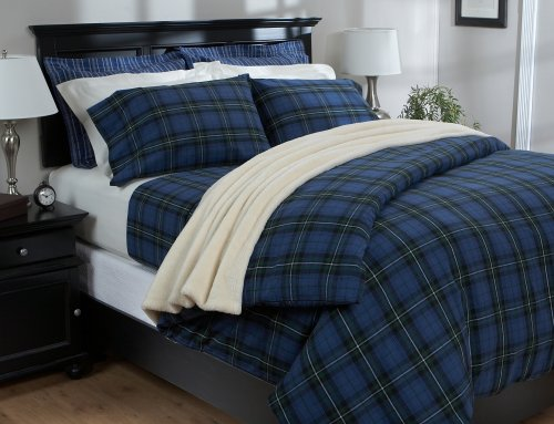 Cheap Pinzon Lightweight Cotton Flannel Duvet Cover - Full/Queen, Blackwatch Plaid