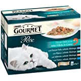 Purina Gourmet Perle Ocean Delicacies Mini Fillets in Gravy Wet Cat Food 12 x 85 g (Pack of 4)