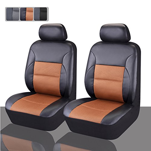 CAR PASS - 6PCS Luxurous Leather Universal Two Front car seat Covers Set (Balck And Khaki) (Car Seat Covers Chevy compare prices)