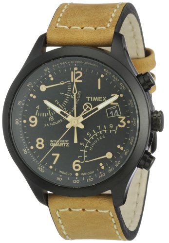 Timex Intelligent Quartz Men's Flyback Chornograph Watch with Black Dial Chronograph Display and Brown Leather - T2N700