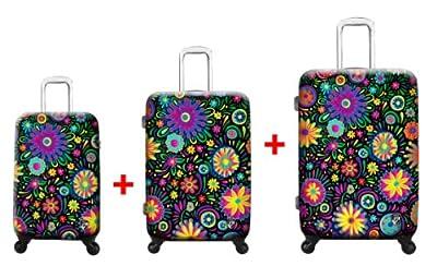 Heys USA - 3pcs. - SET 100 GBP Discount - Limon Flowers Dance, High-quality designer artist luggage set - 55 cm hand luggage, 66 cm and 76 cm 4-wheels Trolley by Heys USA