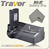 FitTek® Travor BG-2F Battery Grip + fitTek? Cleaning Cloth for Nikon D3100/D3200/D3300 Digital SLR Camera Replaces