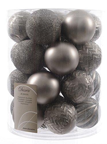 26-Christbaumkugeln-grau-Grey-Mix-6-cm-26-Stck-6fach-sortiert-Weihnachtskugeln-Kunststoff-Matt-Glanz-Glimmer-Streifen-Zickzack-und-Rautenstruktur