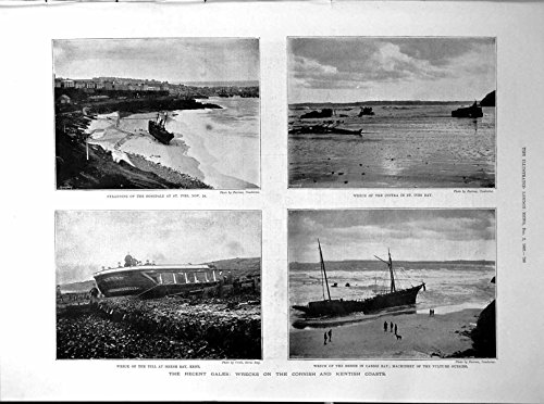 old-original-antique-victorian-print-wrecks-cornish-kent-coasts-gales-rosedale-cintra-tell-bessie-18