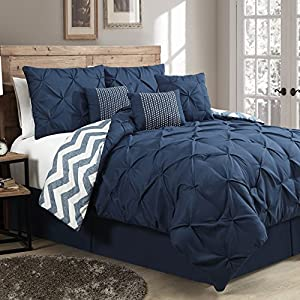 Geneva Home Fashion 7-Piece Ella Pinch Pleat Comforter Set, Queen, Navy