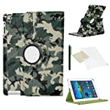 Camouflage Case for Samsung Galaxy Tab 3 7 Inch (T210 / T211 / P3200) / PU Leather with 360 Degree Rotating Swivel Action for Portrait and Landscape Display by PulseTec Accessories / Free Screen Protector and Stylus Touch Pen