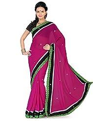 Deepika Saree Faux Georgette Rani Pink Saree With Blouse - B00M0F1RGY