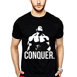 iLyk Men's Conquer Printed T-Shirt (10498_Black_Large)