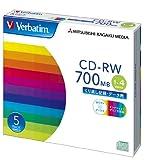 三菱化学メディア Verbatim CD-RW 700MB くり返し記録用 1-4倍速 5mmケース 5枚パック 印刷対応 ホワイトレーベル SW80QP5V1