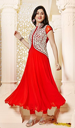 Skyblue Fashion Women's Faux Georgette Embroidered unstitched anarkali salwar suit (549032_Red_Free Size)