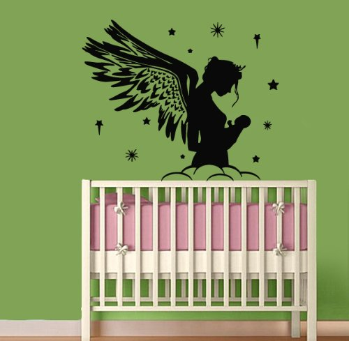 Wall Vinyl Decal Sticker Art Design Angel With Wings And Baby Nursery Room Room Nice Picture Decor Hall Wall Chu1243 front-1045902