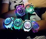 夜が待てない!!「7色にフラッシュ発光」レインボーLED腕時計[光る腕時計【MUSE サングラス 衣装 レインボー コスチューム コスプレ 仮装 パーティー コンサート フェス LEDサングラス シャッター 光る メガネ サングラス ] (ホワイト)