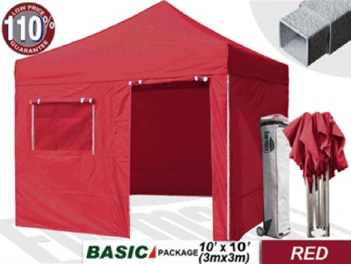 eurmax Basic 10 x 10 Pop up Canopy Instant Outdoor Party Tent Shade Gazebo with 4 Zippper End Sidewalls and Roller Bag, Bonus 10ft A... at Sears.com
