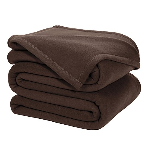 DOZZZ Queen Polar-Fleece Thermal Blanket BROWN (90 by 90 Inches) - Extra Soft Brush Fabric, Super Warm Bed Fleece Blanket Lightweight Couch Blanket, Easy Care, Machine Washable Blanket (Big Blanket compare prices)