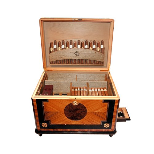 Jr Quality Humidor - French Baroque-Style - Holds 300 Cigars - Includes Electronic Humidity System - (20.3 X 15.3 X 15')